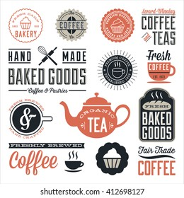 Vintage Cafe and Bakery Designs - Set of vintage labels and design elements. Colors are global and each design is grouped for easy editing.