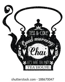 Vintage Cafe Menu with a teapot shape and chalk lettering style in black and white. Vector.