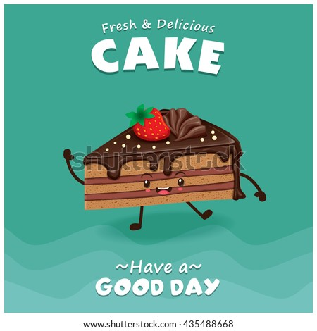 Vintage Cake Poster Design With Vector Character