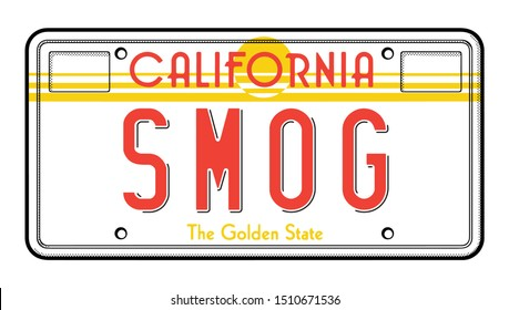 Vintage California license plate sunset 1970s Smog