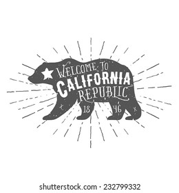 Vintage California Republic bear with sunbursts. Grunge effect is on a separate layer.