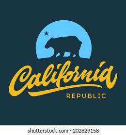 Vintage california republic calligraphic handwritten t-shirt apparel fashion design and bear