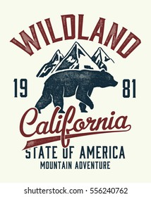 Vintage California typography with mountain and bear  illustration, Outdoor adventure . Vectors for t shirt