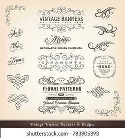 Vintage Calligraphic Design Banners/ Illustration of a set of vintage calligraphic design elements, with floral shapes, patterns and old-fashioned frame design elements