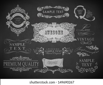 Vintage calligraphic design elements, page decoration and labels of drawing with chalk on blackboard