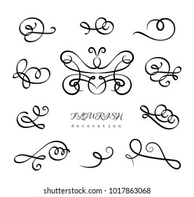 Vintage calligraphic flourishes and curlicues, set of decorative design elements in retro style, vector scroll embellishment on white