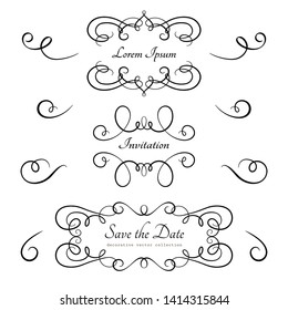 Vintage calligraphic flourishes and vignettes, swirly decorative elements in retro style, vector scroll embellishment on white background
