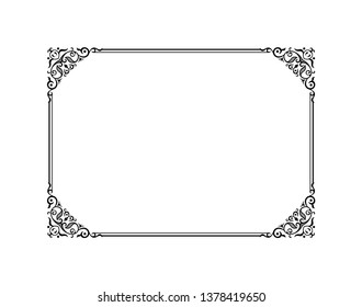 Vintage calligraphic frame. Black and white vector border of the invitation, diploma, certificate, postcard. Empty blank and place for text.