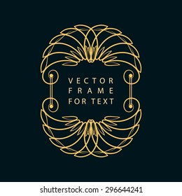 Vintage Calligraphic frame. Modern Swirl Frame. Monogram design elements, graceful template. Antique elegant line art logo design. Easy to edit for invitations or announcements. Vector illustration