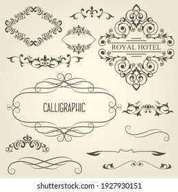 Vintage calligraphic frames with vignettes and ornamental dividers, curly decoration, vector