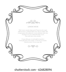 Vintage calligraphic rectangle frame, vector decorative element in retro style, wedding invitation or announcement design on white