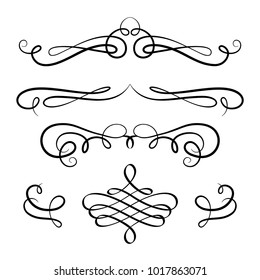 Vintage calligraphic vignette set, decorative design elements in retro style, vector scroll embellishment on white