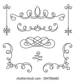 Vintage calligraphic vignettes, corners and dividers, set of decorative design elements in retro style, vector scroll embellishment on white