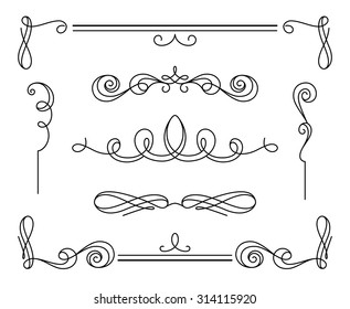 Vintage calligraphic vignettes and dividers, set of decorative design elements in retro style, simple swirls, vector scroll embellishment on white