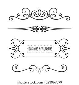 Vintage calligraphic vignettes and dividers, set of decorative design elements in retro style, page decoration template, vector scroll embellishment on white