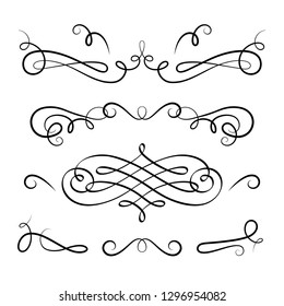 Vintage calligraphic vignettes and flourishes, decorative design elements in retro style, vector scroll embellishment on white