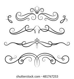 Vintage calligraphic vignettes, set of scroll design elements in retro style, decorative flourishes, vector embellishment on white