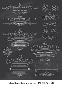 Vintage Calligraphy Chalkboard Design Elements