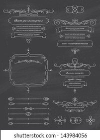 Vintage Calligraphy Chalkboard Design Elements Two