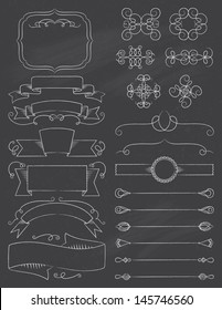 Vintage Calligraphy ChalkBoard Design Elements Five