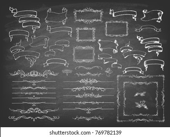 Vintage Calligraphy Chalkboard Design Elements. Set of decorative design elements and page decor. Classic curves and curly lines. Vector illustration.
