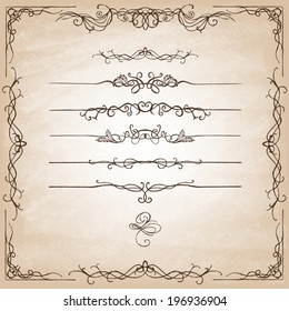Vintage Calligraphy  Design Elements. Set of decorative design elements and page decor. Classic curves and curly lines. Vector illustration.