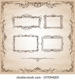 Vintage Calligraphy Design Elements. Set of decorative design elements and page decor. Classic curves and curly lines. Set of hand drawn ornamental frames. Vector illustration.