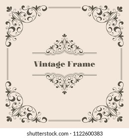 Vintage calligraphy ornament for greeting card, invitation or certificate. Vector Illustration