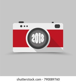 Vintage camera 2018 - graphic for business design, infographics, reports or workflow layout in flat style