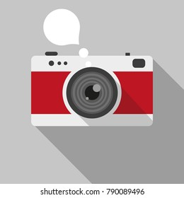 Vintage camera - graphic for business design, infographics, reports or workflow layout in flat style