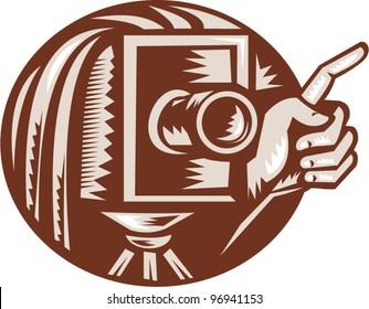Vintage Camera Hand Pointing Retro Woodcut