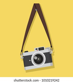 vintage camera hanging on a screw