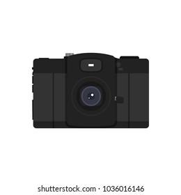 Vintage camera icon. Vector vintage black camera flat illustration.