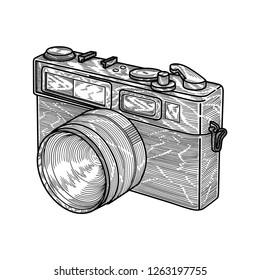 Vintage Camera, Monochrome Illustration Vector