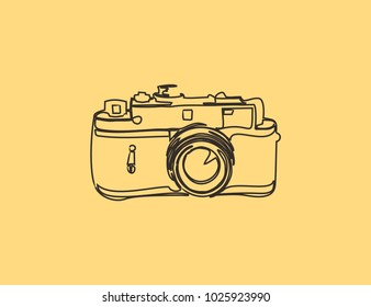 Vintage camera on yellow old paper, line illustration for different use.