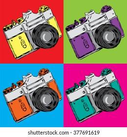 Vintage camera.. Poster. Vector illustration in pop art style.