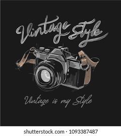 vintage camera sketch with slogan