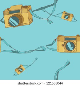Vintage cameras seamless pattern