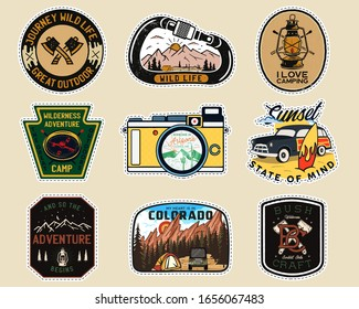Vintage camp patches logos, mountain badges set. Hand drawn labels designs. Travel expedition, backpacking, surfing stickers. Outdoor hiking emblems. Logotypes collection. Stock vector isolated.