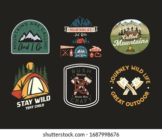 Vintage camp patches logos, mountain badges set. Hand drawn stickers designs bundle. Travel expedition, backpacking labels. Outdoor adventure emblems. Logotypes collection. Stock vector.