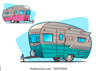 vintage Camper. Cartoon illustration