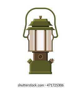 Vintage camping lantern isolated on white background. Retro gas lamp with glowing light. Rustic tourist oil lantern vector illustration. Old lamp for hiking.