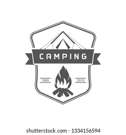Vintage camping logo for your company or club. Emblem in retro style.