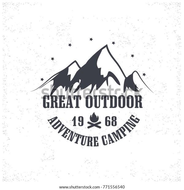 Vintage Camping Outdoor Adventure Emblems Logos Stock Vector