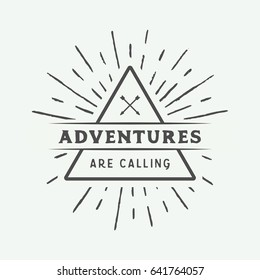 Vintage camping outdoor and adventure logo, badge, labels, emblem, mark. Graphic Art. Vector Illustration.
