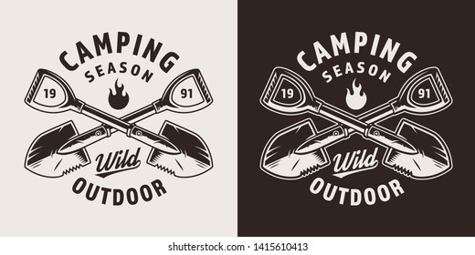 Vintage camping season monochrome badge with crossed shovels isolated vector illustration