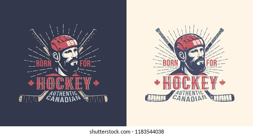 Vintage Canadian hockey logo with  bearded player and crossed sticks.