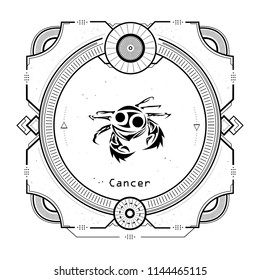 Vintage cancer zodiac sign Tattoo style