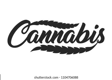 Vintage Cannabis lettering template with leaves in monochrome style isolated vector illustration