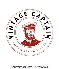 Vintage Captain Emblem. Bearded Ship Captain Smoking Pipe